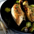 cast iron chicken with brussels sprouts