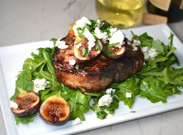 Pork Chops with Feta Arugula and Figs