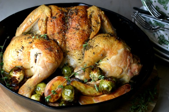 Spatchcocked Chicken with Potatoes and Brussels Sprouts